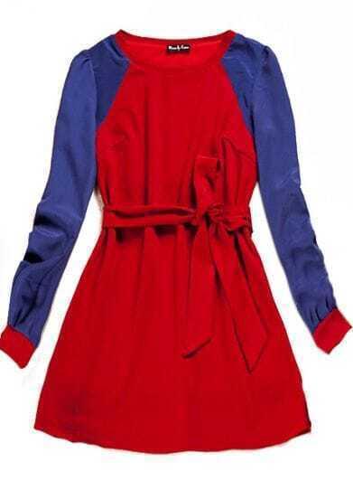 Red Raglan Sleeve Drawstring Dress
