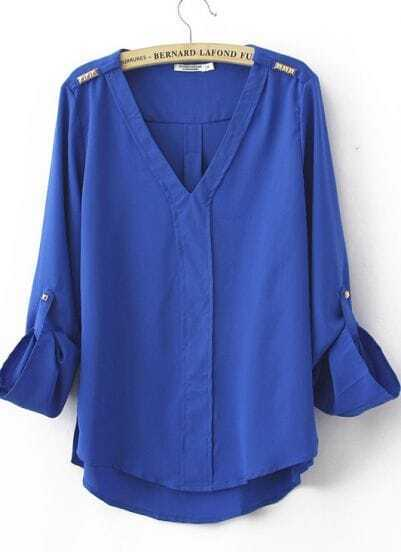 Blue Chiffon V Neck Studded Shoulder Roll Long Sleeve Blouses