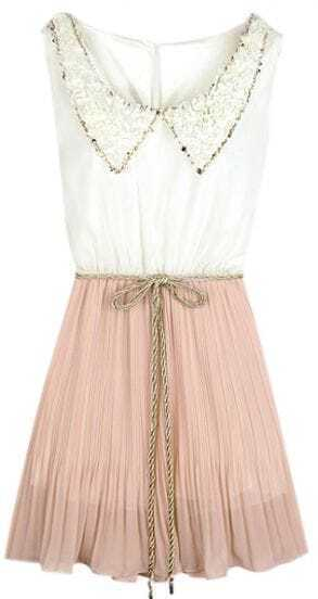 White Pink Sleeveless Peter Pan Neckline Pleated Chiffon Dress
