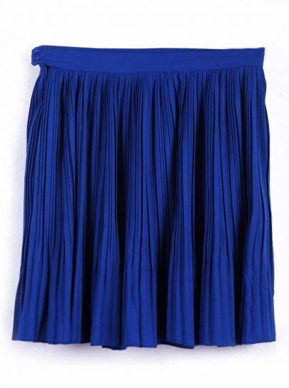 Blue Button Zipper Pleated Chiffon Skirt