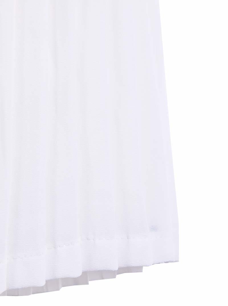 white elastic waist pleated chiffon skirt shein sheinside