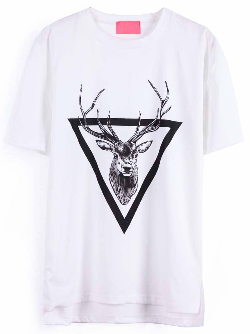 White Short Sleeve Triangle Deer Print T Shirt SheIn Sheinside