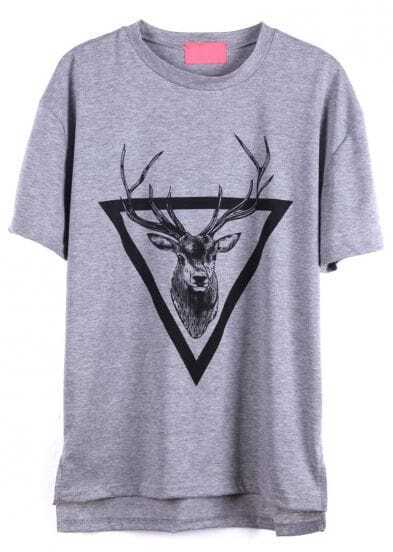 Grey Short Sleeve Triangle Deer Print T-Shirt