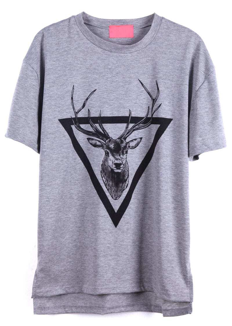 Grey Short Sleeve Triangle Deer Print T Shirt SheIn Sheinside