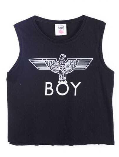 Black Sleeveless BOY Eagle Print Vest