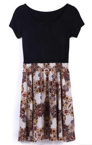 Black White Short Sleeve Floral Chiffon Dress