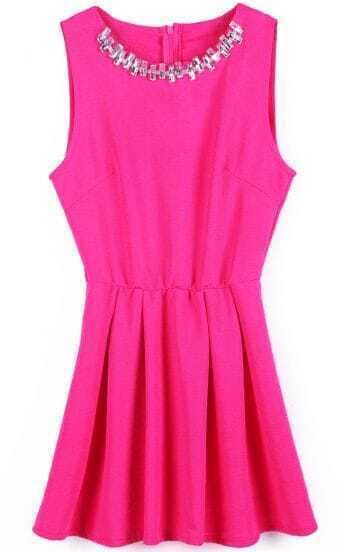 Red Sleeveless Rhinestone Back Zipper Pleated Dress