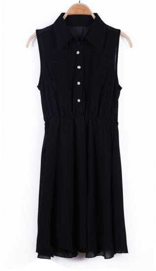 Black Lapel Sleeveless Buttons Pleated Chiffon Dress