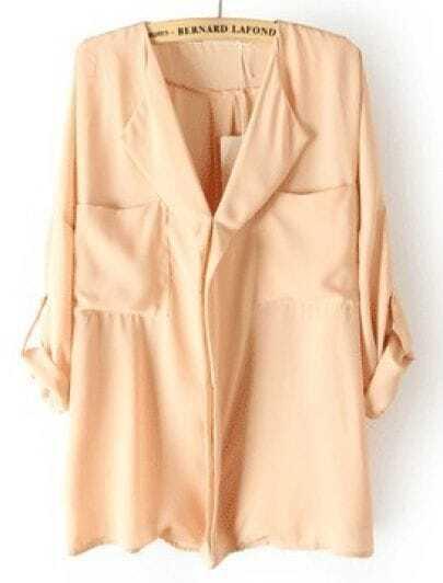Pink Long Sleeve Symmetry Pockets Chiffon Blouse