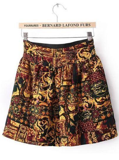 Yellow High Waist Retro Print Chiffon Skirt