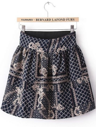 Blue High Waist Plaid Print Chiffon Skirt