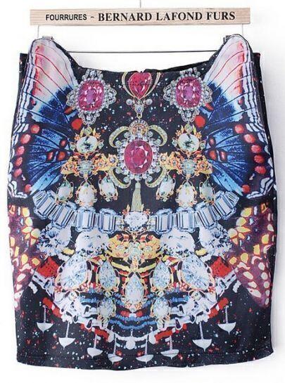 Black Gemstone Butterfly Print Skirt