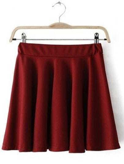 Red Mid Waist Pleated Skirt