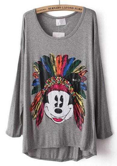 Grey Mickey Print Beading Dipped Hem T-Shirt