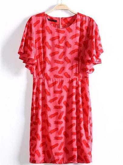 Red Ruffles Short Sleeve Pineapple Print Dress