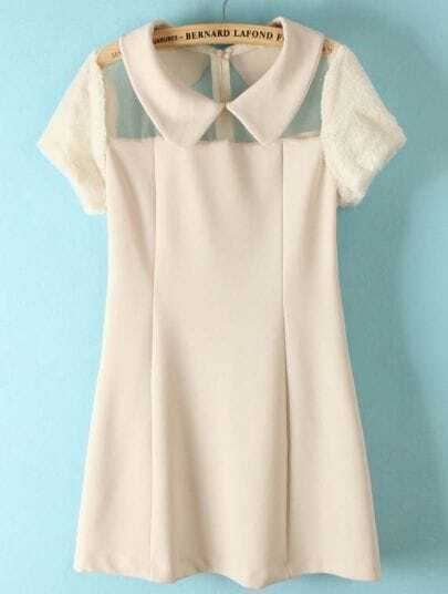 White Short Sleeve Contrast Mesh Yoke Dress