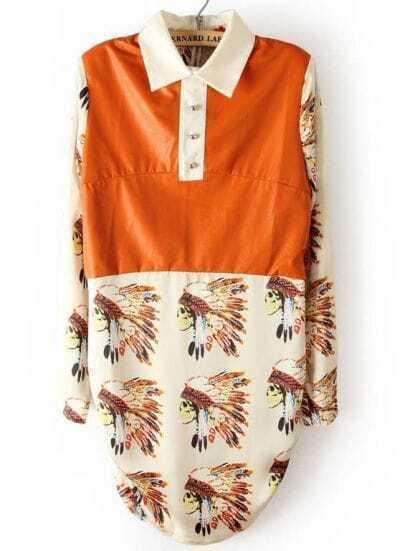 Orange White Long Sleeve Indian Avatar Print Dress
