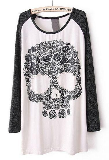 White Long Sleeve Skull Print Beading T-Shirt