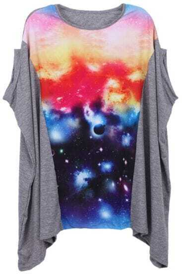 Grey Batwing Sleeve Galaxy Print Loose Blouse
