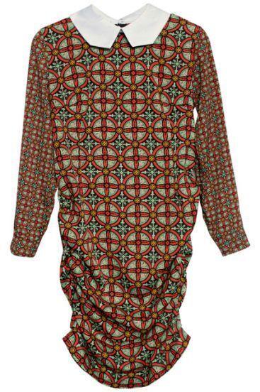 Multi Long Sleeve Diaper Back Zipper Dress