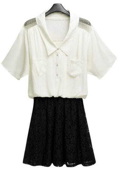 Beige Short Sleeve Contrast Black Lace Skater Dress