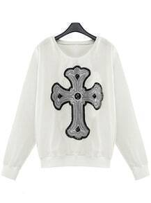 White Sheer Sleeve Sequined Beading Cross Sweatshirt