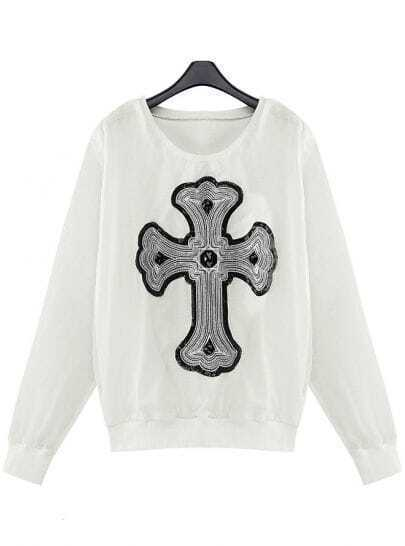 White Sheer Sleeve Sequined Beading Cross Sweatshirt