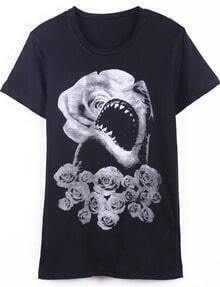 Black Short Sleeve Rose Shark Print T-Shirt