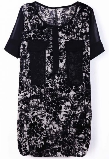 Black Short Sleeve Floral Pockets Embellished Dress