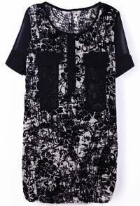 Black Short Sleeve Floral Pockets Embellished Dress