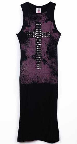 Black Sleeveless Rivet Cross Embellished Dress