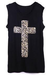 Black Sleeveless Leopard Cross Print Vest