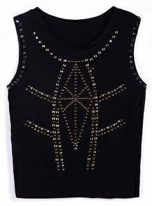 Black Sleeveless Rivet Geometric Vest