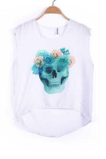 White Sleeveless Green Flowers Skull Print Chiffon Vest
