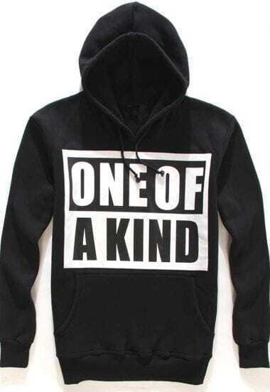 Black Long Sleeve Letters Pattern Sweatshirt