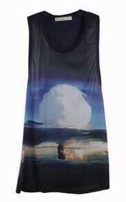 Navy Mushroom Cloud Long Racer Tank Vest
