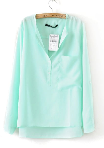 Turquoise Collarless Dipped Hem Long Sleeve Blouse with Front Pocket
