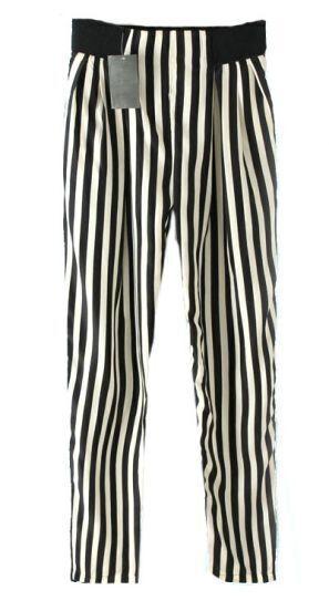 Black Beige Vertical Stripe Pockets Pant