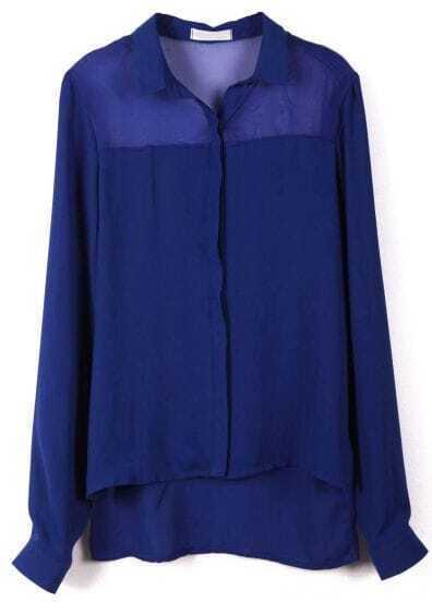 Blue Long Sleeve Asymmetrical Chiffon Blouse