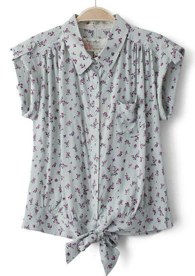 Light Grey Short Sleeve Floral Bow Blouse