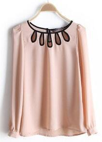 Pink Round Neck Long Sleeve Hollow Chiffon Blouse