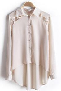 Beige Long Sleeve Hollow Dipped Hem Chiffon Blouse