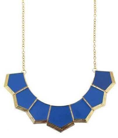 Blue Geometric Collar Necklace