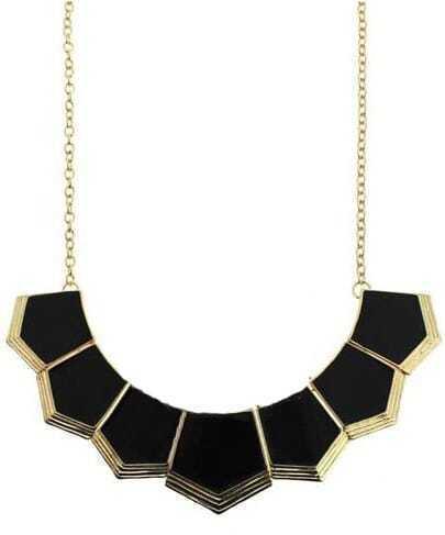 Black Geometric Collar Necklace