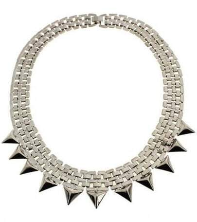 Silver Pyramid Chain Collar Necklace