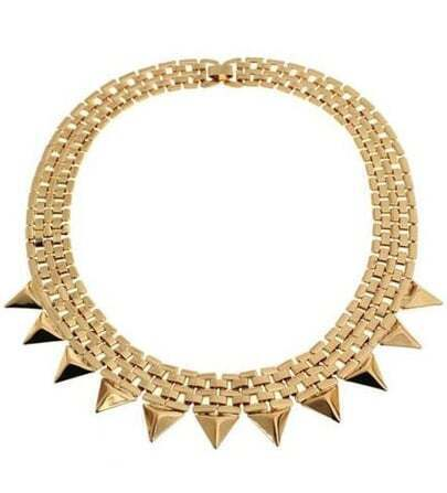 Gold Pyramid Chain Collar Necklace