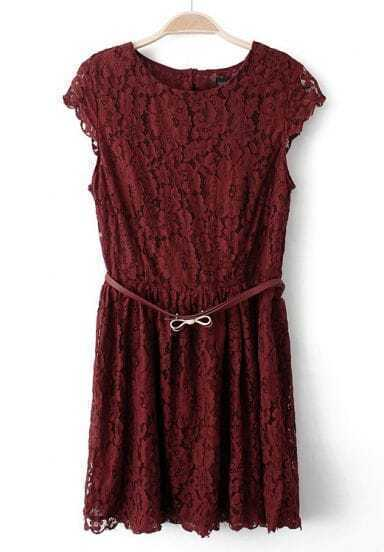 Wine Red Short Sleeve Bow Hollow Lace Dress