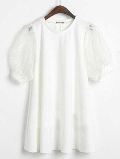 White Sheer Short Puff Sleeve Chiffon Dress