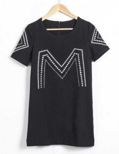 Black Short Sleeve Rhinestone A Line Dress