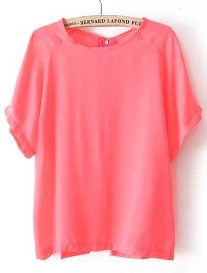 Red Batwing Short Sleeve Back Zipper Chiffon T-Shirt